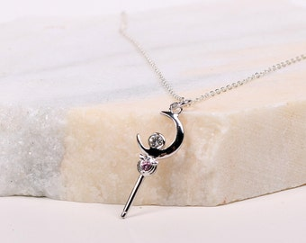 Sailor Moon crescent WAND, tiny moon stick necklace made with pure Sterling 925 silver