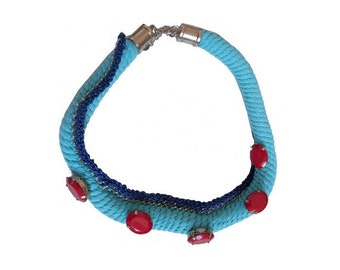 80s KNITTED jewel Necklace // french 80s necklace