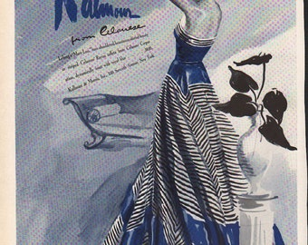 Original Vogue magazine fashion print, Kalmour from Celanese, Lelong Mary Lou dress - fash 566