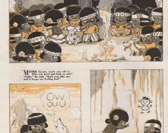"Original Good Housekeeping cartoon ""Canyon Kiddies"" by James Swinnerton 1930s, 8x11 in. - Kids 723"