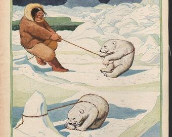 Original James Swinnerton illustration from early Good Housekeeping; Eskimos, polar bears - Kids877