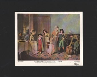 """Original matted print from The Connisseur magazine, """"Black Monday or the Departure for School"""" by  W R Bigg - 000067M"""