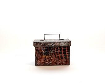 Vintage Faux Croc Tin Box