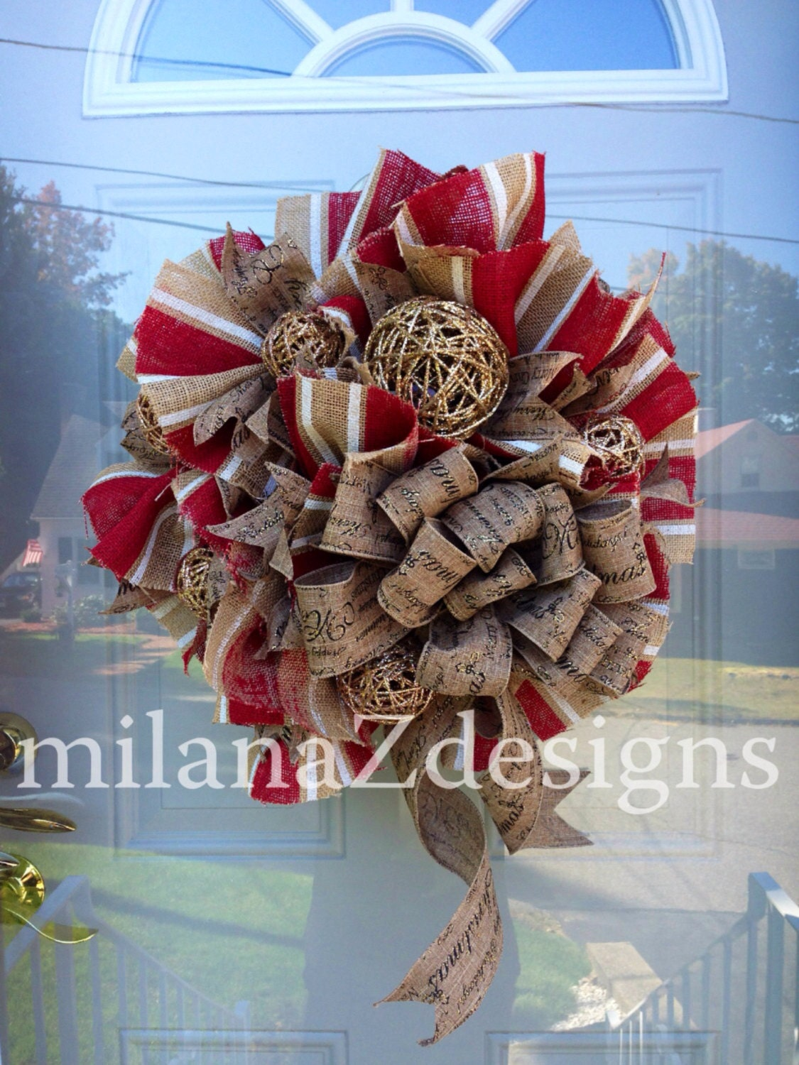 Burlap christmas wreath shabby chic french country holiday for Burlap wreath with lights