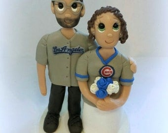 Custom Wedding Cake Topper with Colored Eyes and Jersey