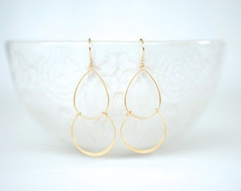 Matte Gold Simple Double Layer Teardrop Earrings