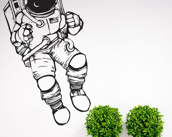 Outer Space Cosmonaut Astronaut Wall Decal Nursery Decor Art Sticker Spaceman Vinyl