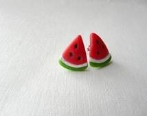 Watermelon Studs,Watermelon Slice Earrings, Watermelon Jewelry Studs, Summer Studs, Fruit Stud Earrings