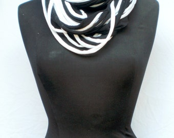 Infinity Scarf, Jersey Strand Style from Up-Cycled Black and White T-shirts, double thickness