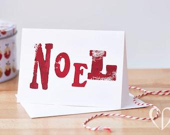 Red Noel Christmas Card Handmade