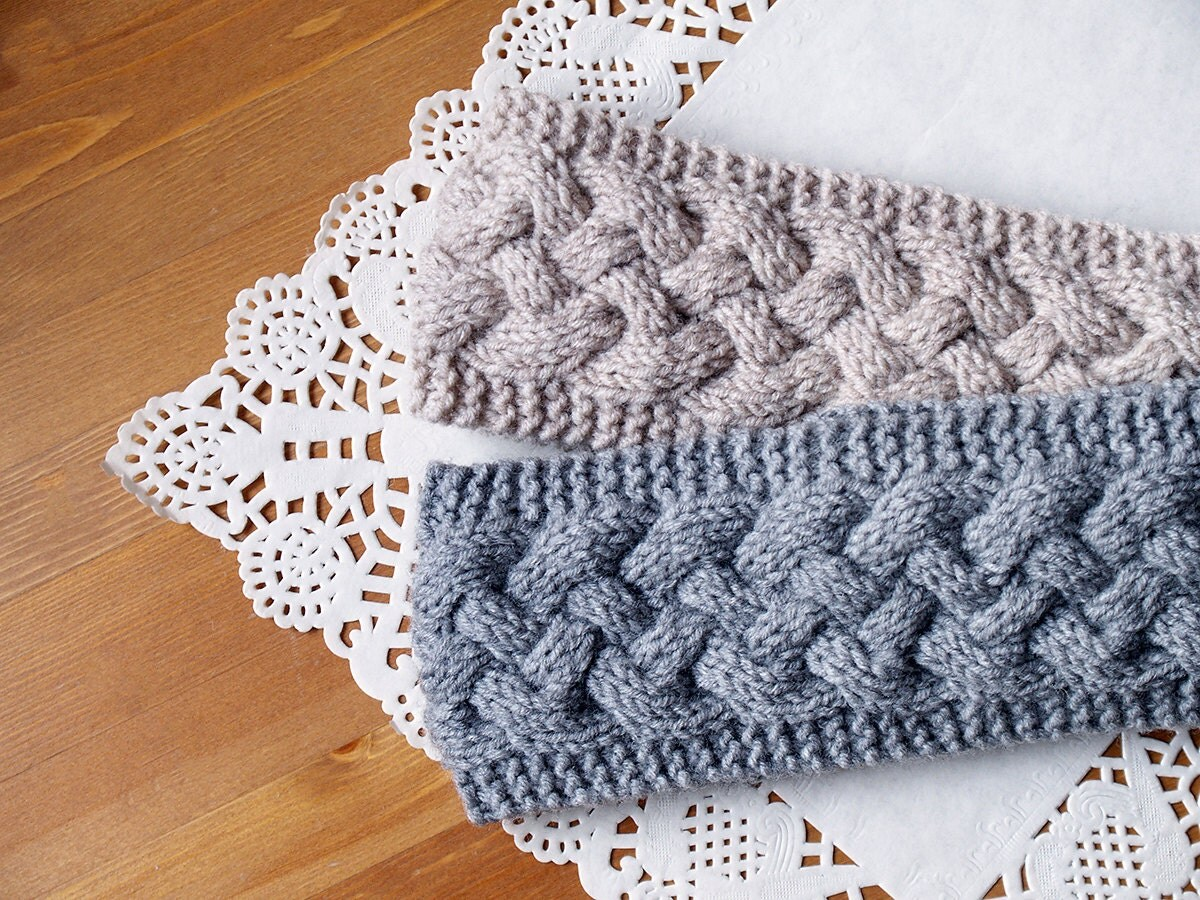 Knitting Pattern For Headband For Winter : Hand Knitted Chunky Winter Headband Ear-warmer Cable Knit