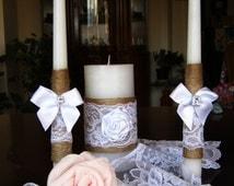 Shabby Chic Wedding Ceremony unity candle Set Country Wedding Centerpiece Candles Burlap Decoration