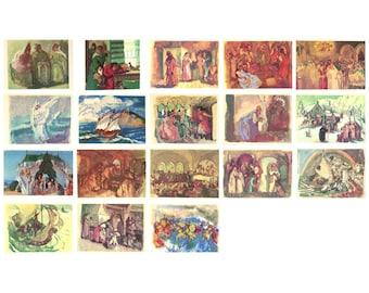 The Tale of Tzar Saltan, Set of 18 Postcards, Pushkin, Illustration, Favorskaya, Soviet Vintage Postcard, made in USSR, 1976, 1970s