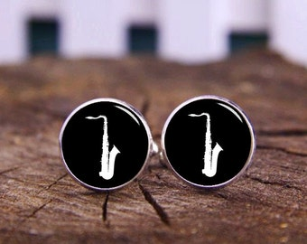 Saxophone Cufflinks, Blue Saxophone Cuff Links, Custom Musical Instrument Cufflinks, Musician Cufflinks, Personalized Cuff Links, Groom Gift