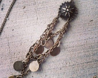 Brass Chain and Star Abstract Pendant