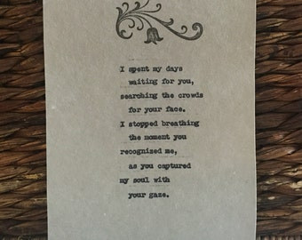 Poem Romantic Love Gifts for Him or Her Soul Mates Love Poem Typed with Antique Typewriter onto Cotton Paper Birthday Gift for Him