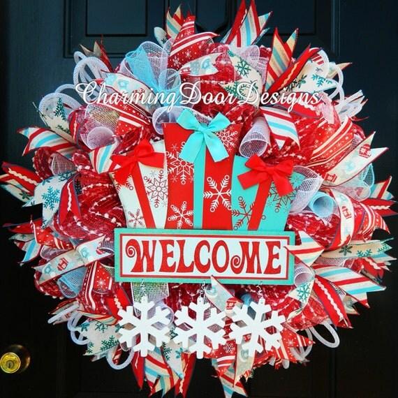 welcome christmas wreath on - photo #15