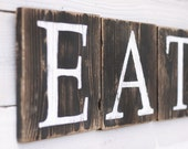 Eat Sign Blocks Rustic Reclaimed Wood Country Kitchen Decor Hand Painted