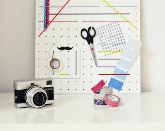 """Ahoj-2012 hole plate Bulletin Board, memo Board, Pinnboard """"Cottage"""", rubber bands, organizer, pegboard, Office utensil, workplace, desk, pastel"""