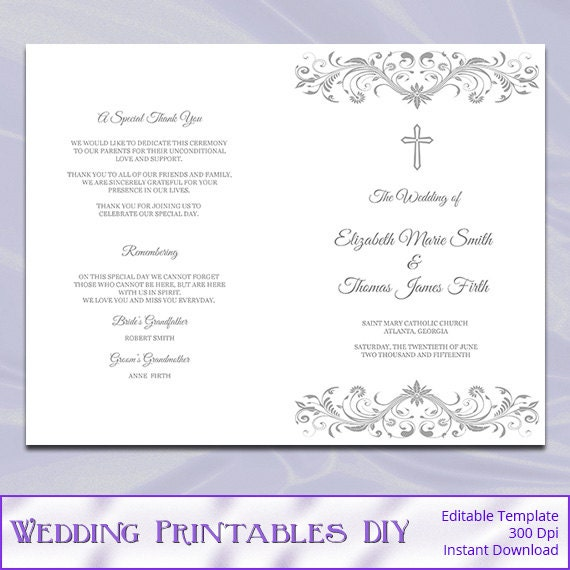 Items Similar To Catholic Wedding Program Template, Diy