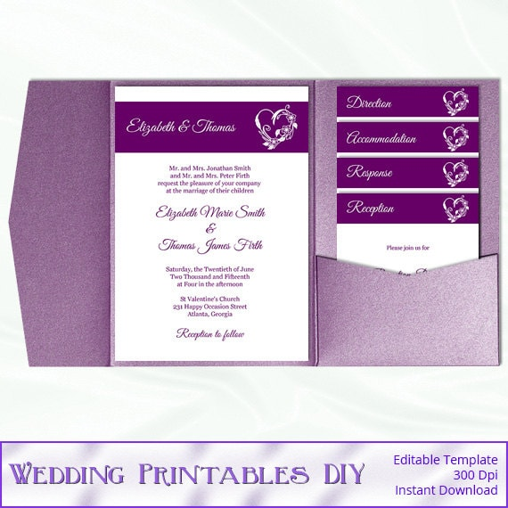 Diy Wedding Invitations Templates: Items Similar To Purple Pocket Wedding Invitation Set