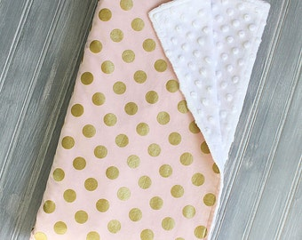 Light Pink with Metallic Gold Polka Dots Minky Blanket - Baby Girl Blanket with White Minky Blanket - Light Pink Gold Dots, Personalized
