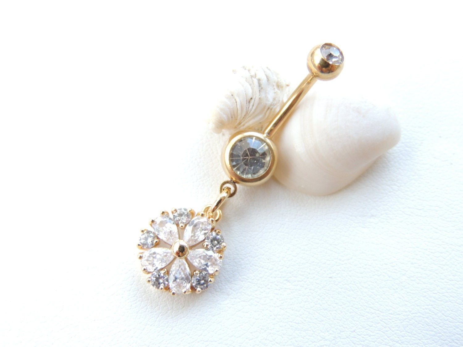 flower belly button ring gold navel rings by