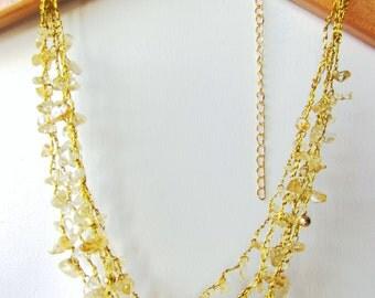 Topaz Necklace, Crochet, Gold, Made in Israel, Raw Yellow Topaz. November Birthstone. Semiprecious Stone, Beaded Necklace. Raw stone beads.