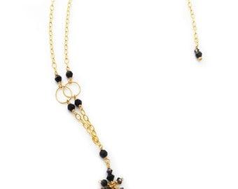 Black Swarovski Crystals Cluster Necklace in 14k Gold Fill - 466n