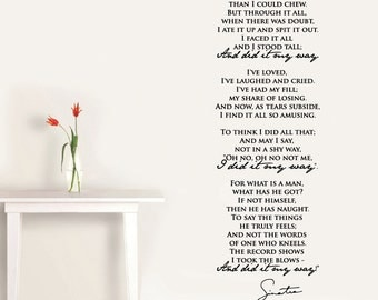 "Wall Vinyl Decal ""My Way"" part of the song lyrics by Frank Sinatra + Sinatra's vector signature"