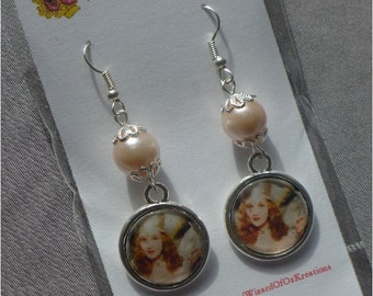 Wizard of Oz Silver and Enamel Glinda Earrings with Pink Pearl Glass Beads