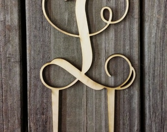 Wooden Initial Cake Topper - Unfinished Monogram Cake Topper - Custom Monogram Cake Topper - Wedding Cake Decor