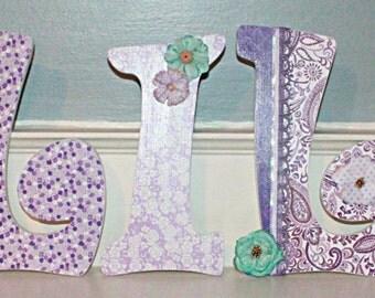 Custom Wooden letters, wooden nursery letters, purple nursery letters, purple nursery decor, paisley nursery