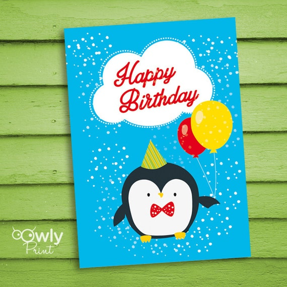 Printable Penguin Happy Birthday Card. Ready To Print By