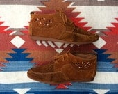 Minnetonka Style Ankle Boots with Beaded Detail in Cognac Leather   |   Size 9.5  |  Native American Boho Hippie Festival Booties  |