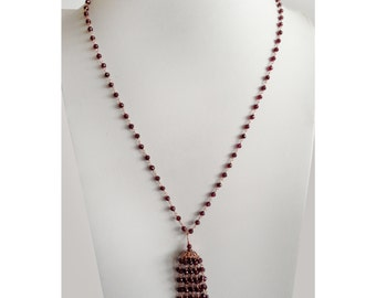 Rhodolite Garnets Necklace with 14K Rose Gold Filled Wire Wrapped Tassel - January Birthstone