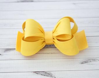 Yellow Hair Clip, Yellow Bow Hair Clip, Bow Hair Clip, Toddler Gold Hair Clip, Girls Bow Hair Clip, Big Bow Hair Clip, 984