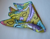 Handmade Blue and Pink Colorful Print Silk With Aqua Stitching Pocket Square Handkerchief