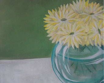 Daisies. Acrylic on 16x20 stretched canvas.