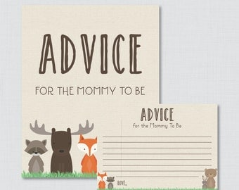 Advice for Mommy to Be Cards and Sign Woodland Baby Shower Printable - Instant Download Woodland Advice for New Parents or Mommy - 0010