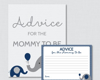Advice for Mommy to Be Cards and Sign Elephant Baby Shower Printable - Instant Download Elephant Advice for Mom, Navy and Gray - 0024-N