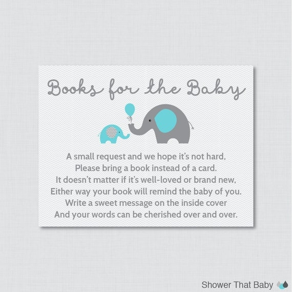elephant baby shower bring a book instead of a card invitation inserts