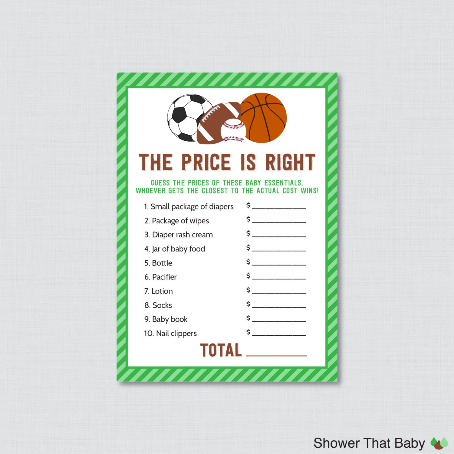 sports themed baby shower price is right game printable
