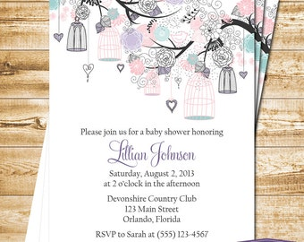 Bird Cage Baby Shower Invitation - Bird Baby Shower Invite - Pink Purple Blue Bird Cage Invitation - Girl Baby Shower Invite -1120 PRINTABLE