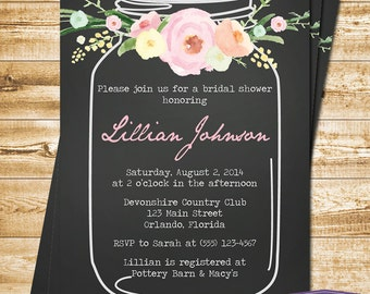 Mason Jar Bridal Shower Invitation Watercolor Flowers Bridal Shower Invitation Bridal Shower Invite Mason Jar Invitation - 1324 PRINTABLE