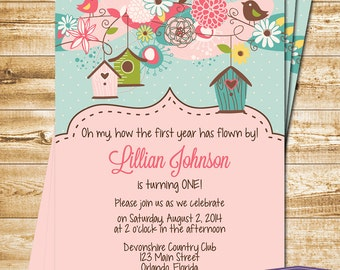 Bird First Birthday Invitation - Bird Houses Birthday Invite - Spring Birds Invite - Turquoise Pink Yellow Green - Girl - 1347 PRINTABLE