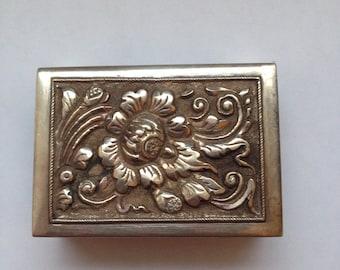 Antique silver match safe, flower design