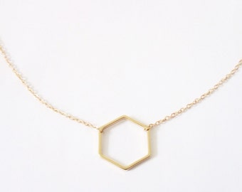 Gold Hexagon Necklace, Delicate gold necklace, Geometric Jewelry, Dainty gold necklace, Minimalist necklace