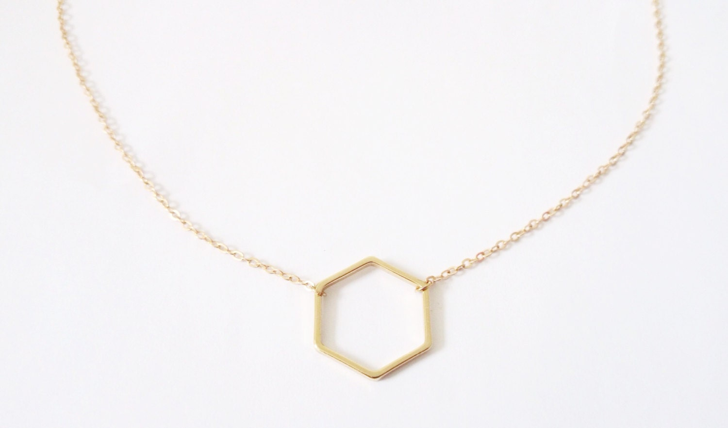 gold hexagon necklace delicate gold by lillycreationjewelry