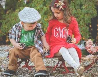 Monogrammed Infant/Toddler Christmas/Holiday Long Sleeve Dress